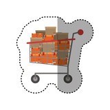 Shopping cart and box icon. Commerce market store and shop theme. Isolated design. Vector illustration