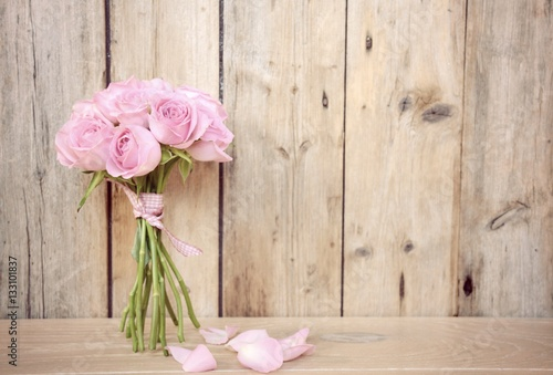 Leinwanddruck Bild Grußkarte - rosa Rosenstrauß