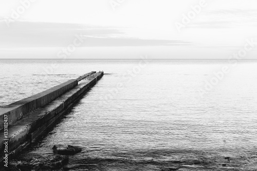 Black and white image of a concrete pier on the coast - 133102437