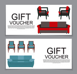 Gift Voucher Template with variation of furniture for apartments