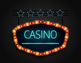 Casino signboard retro style with light frame
