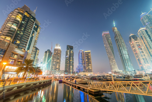 Poster Dubai Marina night skyline along artificial canal, UAE
