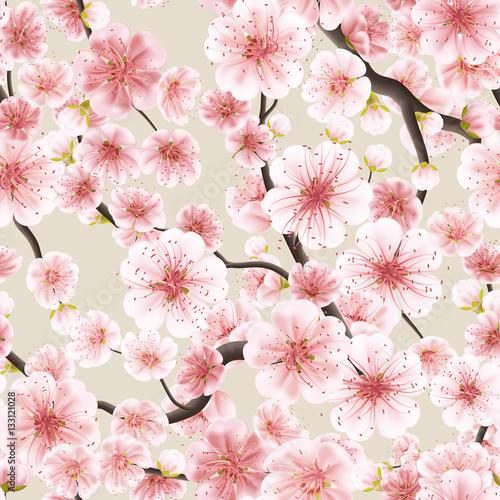 Materiał do szycia Bezszwowe różowy Sakura kwitnienia wiśni. EPS 10