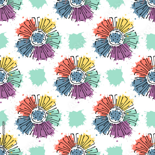 Fototapeta Vector seamless floral pattern with with flowers, decorative elements, splash, blots, drop Hand drawn contour lines and strokes Doodle sketch style, graphic vector drawing illustration