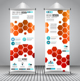 Advertisement roll up business flyer or brochure banner with vertical design.