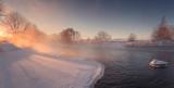 Winter sun shine through mist
