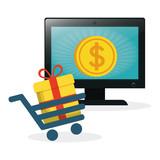 shopping online laptop cart gift coin gold vector illustration eps 10