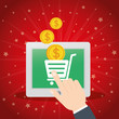 shopping online tablet cart virtual coin vector illustration eps 10