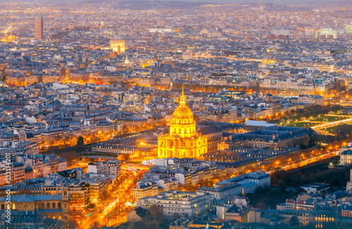 Poster Paris. Aerial view of the city.