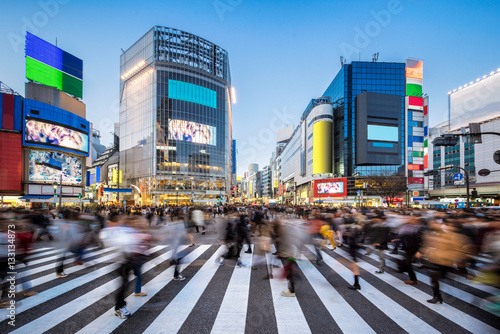 Menschen beim Shibuya Crossing in Tokyo Japan Poster