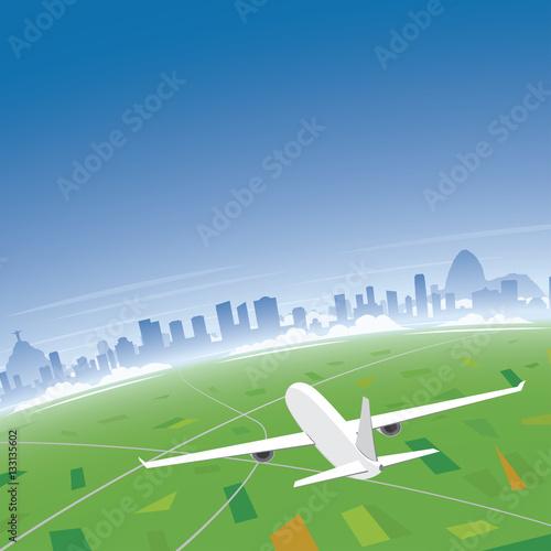 Poster Rio de Janeiro Skyline Flight Destination