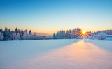 Fototapety Majestic sunrise in the winter mountains landscape.