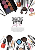 Cosmetics products, fashion makeup banner. Brushes, powder palettes, lipstick, eye pencil, nail polish realistic vector illustrations set on white background.