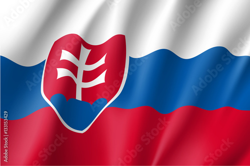 Poster Waving flag of Slovakia. Vector illustration of 3D icon.
