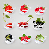 Big collection icons of fruit and berries in a milk splash. Rasp