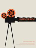 Movie film reel and filmstrip vintage poster vector illustration - 133159674