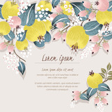 Vector illustration of a beautiful floral border with spring flowers. Yellow and baby pink flowers.