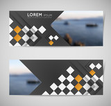 abstract modern horizontal banners with composition of squares and shadow effect