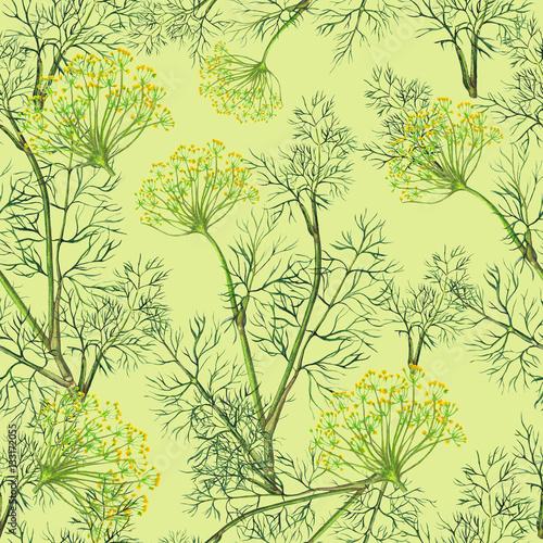 Fototapeta Seamless pattern of watercolor fennel plant