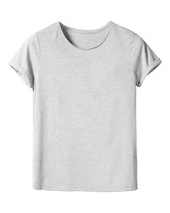 Woman`s gray t-shirt with copy space isolated on white