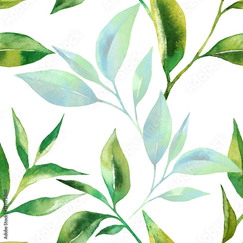 Floral seamless pattern with tea leaves. Green tea branch in hand drawn watercolor style. Tea background for paper, textile and wrapping © elenavic