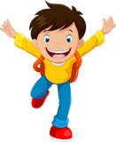 Happy school boy cartoon