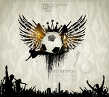 Football background with the balls, wings