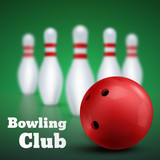 Bowling club poster with red ball and skittles. Vector
