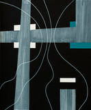 An abstract painting; Transparent white bands over black ground