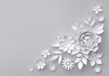3d render, digital illustration, white paper flowers, floral background, corner decoration