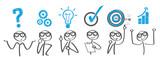 Geschäftserfolg - Banner mit verschiendenen Phasen der Problemlösung - 133199896