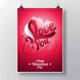 Vector Flyer illustration on a Valentines Day theme with sewing hearth and needle on red background.