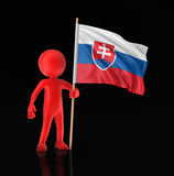 Man and Slovak flag. Image with clipping path
