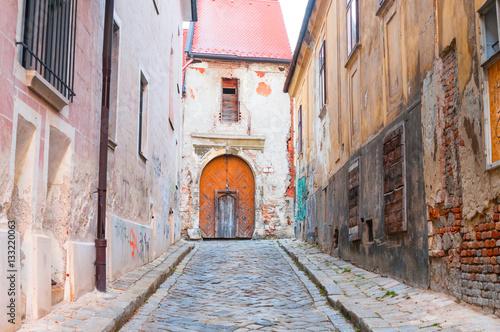 Poster Old paving street in Bratislava, Slovakia