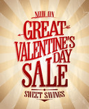 Great Valentines day sale poster concept, sweet savings