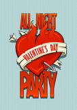 Valentines day party design concept, old school style burning heart