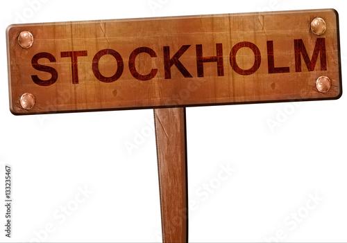 Poster Stockholm road sign, 3D rendering