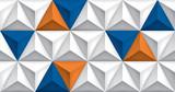 Vector triangles retro background, blue and orange color inserts, mesh gradient, geometric wallpaper