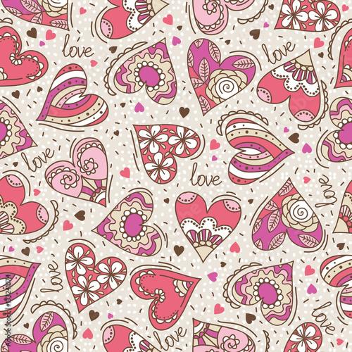 Materiał do szycia Beżowy kwadratowych tło z hearts-valentine ozdobny różowy