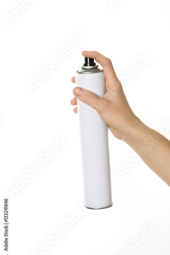 Poster Barber hands holding hair spray isolated on white.