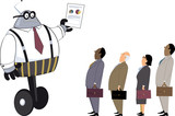 Robot manager showing a paper with graphs to human employees, EPS 8 vector illustration