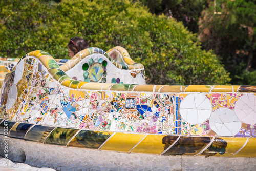 Póster Mosaic Bench in Park Guell Barcelona
