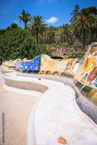 Poster Mosaic Bench in Park Guell Barcelona