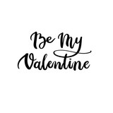Be my Valentine Hand Lettering Text. Valentine's Day Greeting Card. Modern Calligraphy. Vector Illustration.