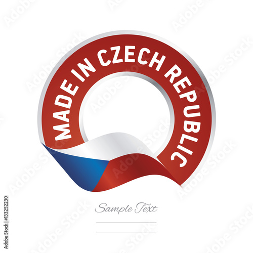Poster Made in Czech Republic flag red color label button banner