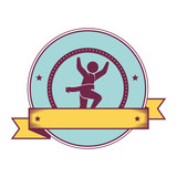 Athletic competitor emblem icon vector illustration design