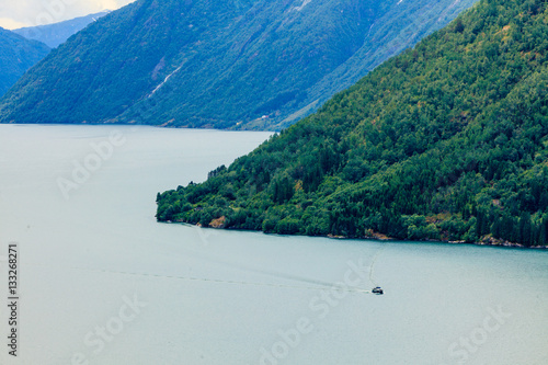 Poster Mountains landscape and fjord in Norway