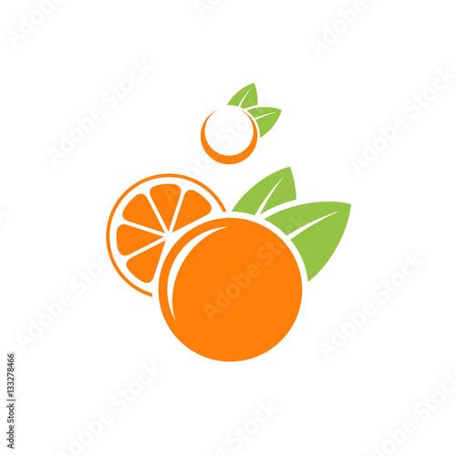 Orange and mandarin. Abstract fruit on white background