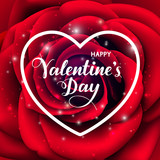 Valentines Day background with red rose and heart shape. Vector illustration