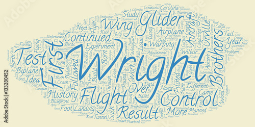 The History of the Airplane text background wordcloud concept